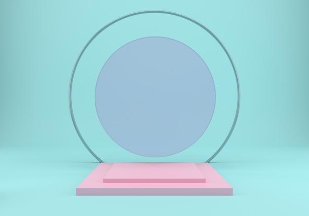 Estudio con podio rosa en el suelo, simulacro de fondo.