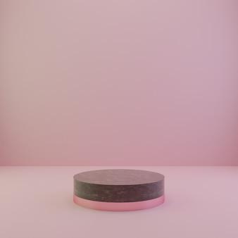 Estudio de renderizado 3d y podio con formas geométricas, podio de mármol en el suelo. plataformas para fondo de presentación de producto.