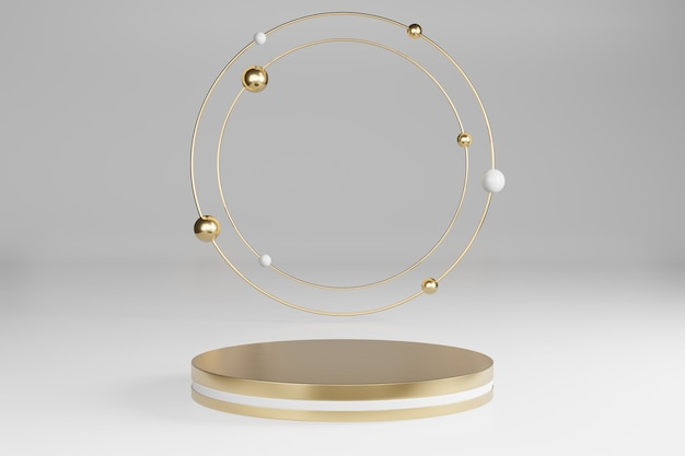 Estudio simulado con formas cilíndricas de mármol, podio, plataformas para la presentación del producto, con decoración de objetos de oro sobre fondo gris. representación 3d