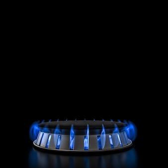 Estufa de gas con llama butano azul. render 3d.