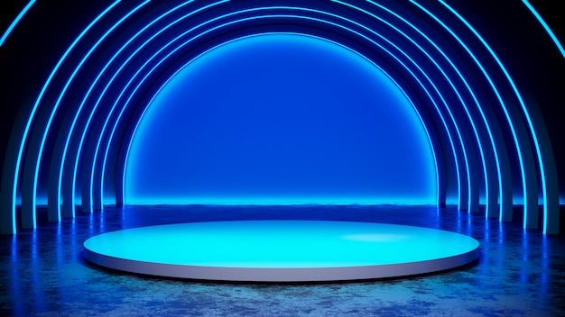 Etapa circular con luz de neón blackground y piso de concreto, luz azul, render 3d