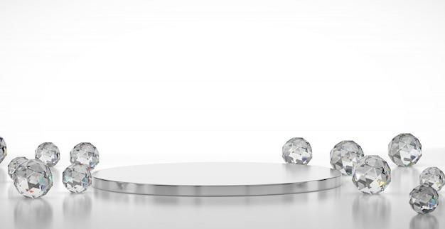 Etapa de lujo abstracto con geometría de gemas cáusticas, plantilla para publicidad de producto, representación 3d.