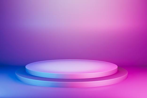 Etapa de pedestal vibrante rosa azul abstracto