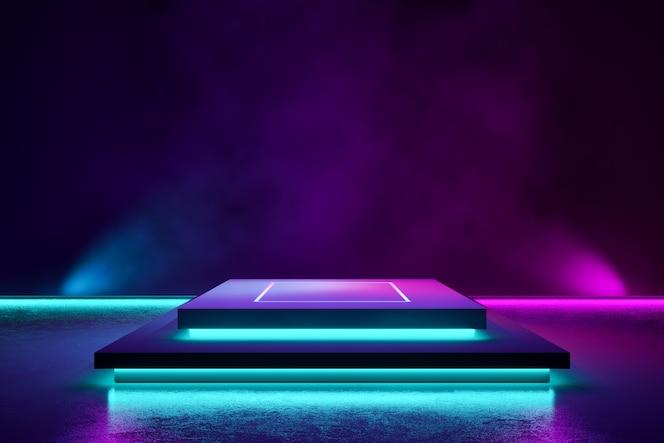 Etapa rectangular con humo y luz de neón púrpura.