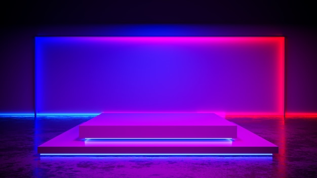 Etapa rectangular con luz de neón blackground y piso de concreto, ultravioleta, render 3d