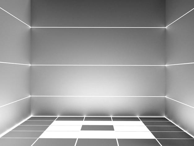 Etapa vacía futurista, representación 3d