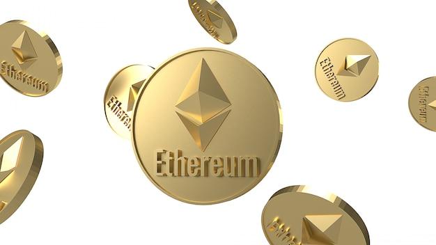 Ethereum monedas criptomoneda cayendo sobre fondo blanco representación 3d