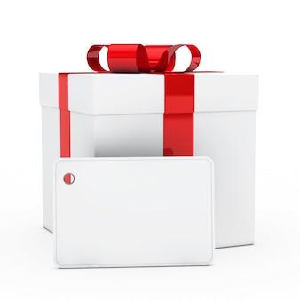 Etiqueta en blanco con un regalo de fondo