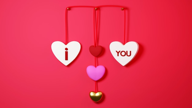 Etiqueta colgante en forma de corazón sobre fondo rojo concepto de celebración para mujeres felices, papá mamá, dulce corazón,