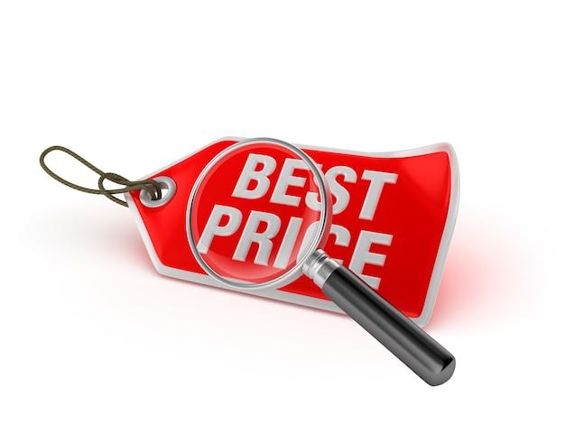 Etiqueta de compra mejor precio con lupa