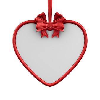 Etiqueta de corazón con cinta roja y lazo sobre fondo blanco. ilustración 3d aislada