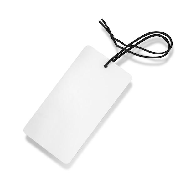 Etiqueta (etiqueta) aislada en la superficie blanca