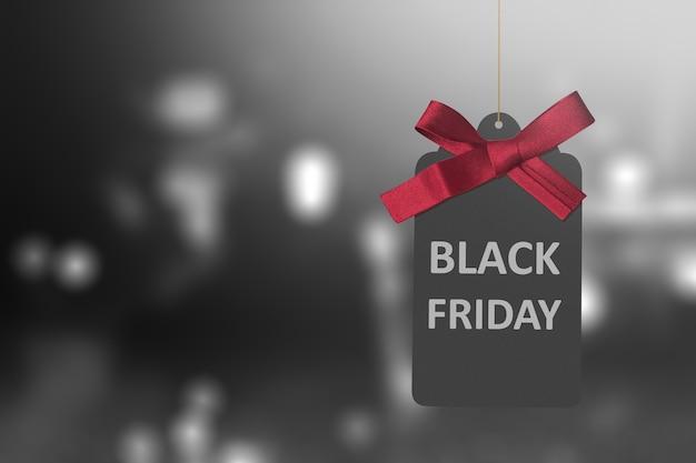 Etiqueta de etiqueta de viernes negro con cinta roja