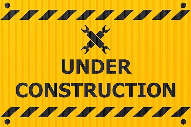 Etiqueta de logotipo de banner en construcción para sitio de construcción o sitio web caído notificar advertencia diseño de estilo de placa de acero de la industria.