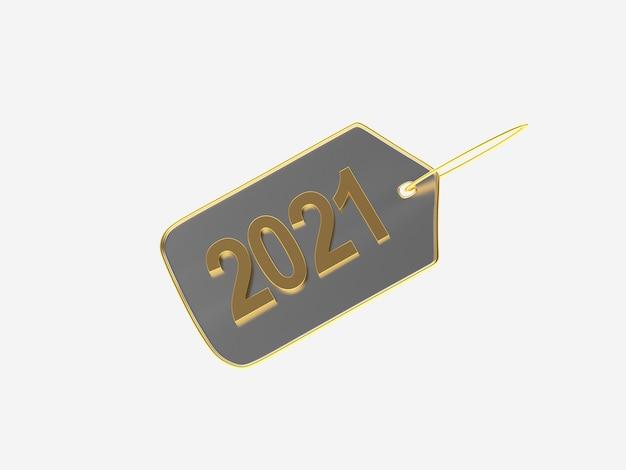 Etiqueta metálica con número de año nuevo