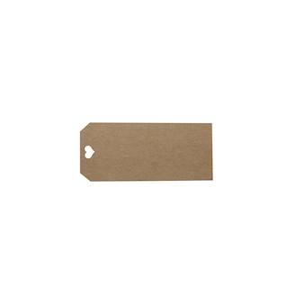 Etiqueta de precio en blanco marrón aislado sobre fondo blanco.