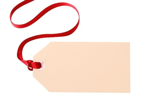 Etiqueta de regalo con lazo rojo