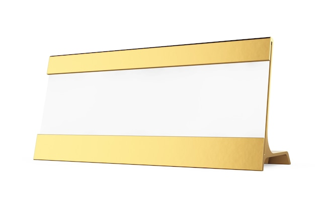 Etiqueta de tarjeta de mesa en blanco horizontal de oro sobre un fondo blanco. representación 3d