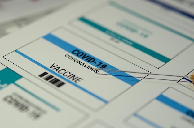 Etiqueta de la vacuna contra el coronavirus, covid-19