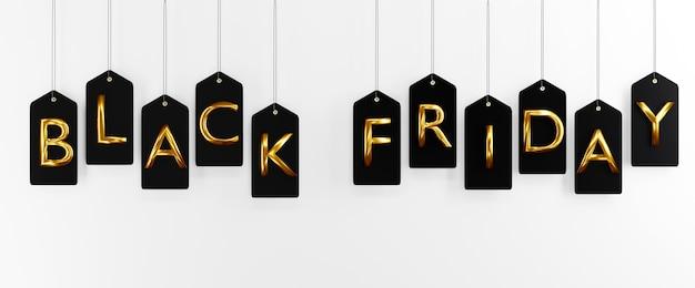 Etiqueta de venta de viernes negro y la cuerda que cuelga la ilustración de renderizado 3d para publicidad