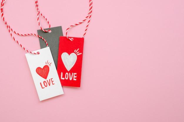 Etiquetas de concepto de amor con espacio de copia