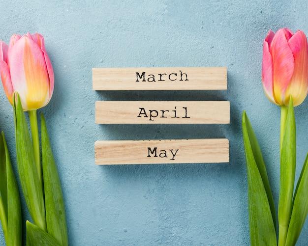 Etiquetas de los meses de primavera con tulipanes