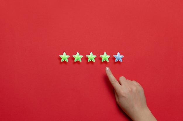 Evaluación de la prestación de servicios. calificación de servicio al cliente. cinco estrellas sobre un fondo rojo