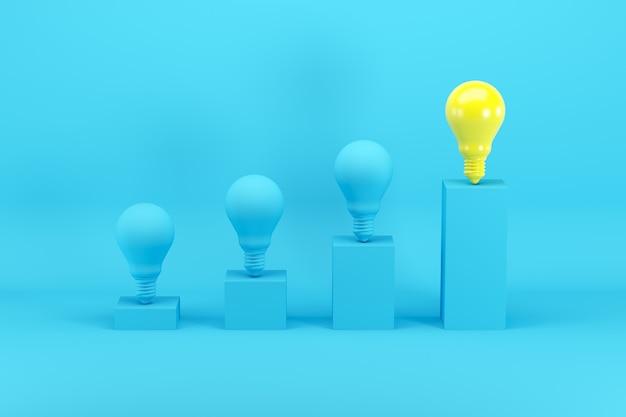 Excelente bombilla de luz amarilla brillante entre bombillas azules en gráfico de barras en azul