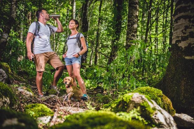 Excursionista de agua potable en el bosque