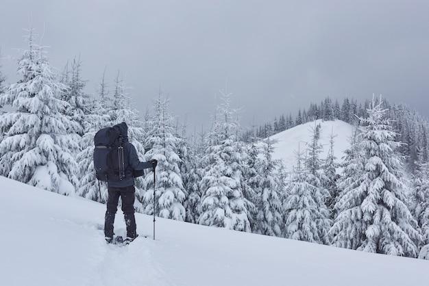 El excursionista, con mochila, está subiendo a la cordillera y admira el pico nevado. aventura épica en el desierto de invierno