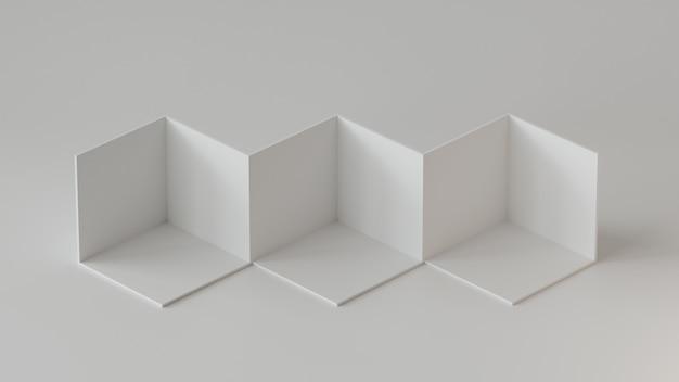 Exhibición blanca del contexto de las cajas del cubo en el fondo blanco. representación 3d.