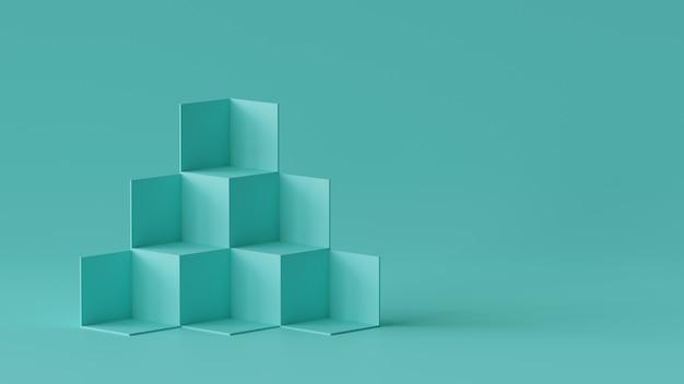 Exhibición del contexto de las cajas del cubo en fondo de la pared en blanco. representación 3d.