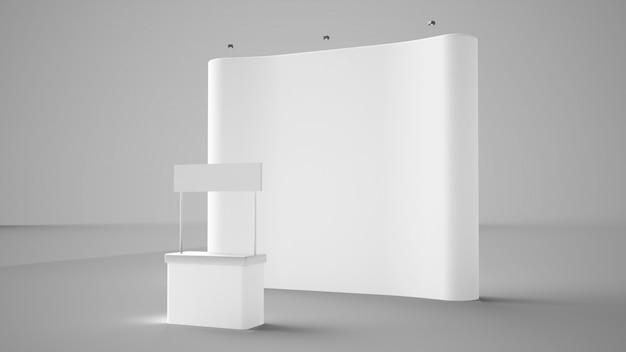 Exhibición de exposiciones y mostrador de recepción.