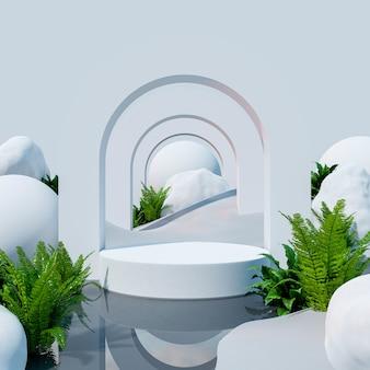 Exhibición de la maqueta del podio en el desierto para la presentación del producto, representación 3d