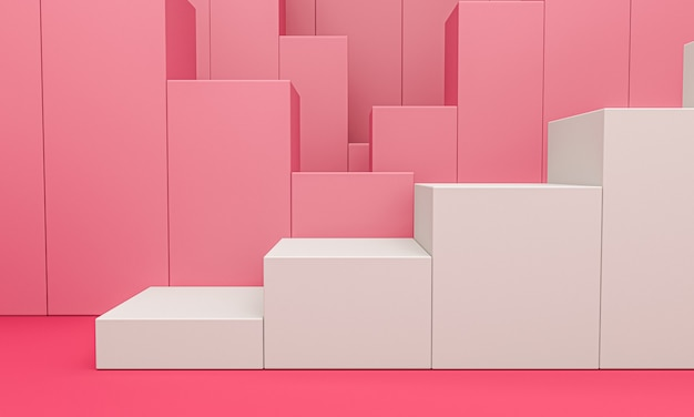 Exhibición del producto blanco o pedestal de vitrina sobre fondo rosa gráfico
