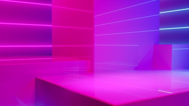 Exhibición de productos de podio con humo y luz de neón púrpura.