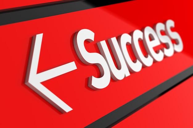 Éxito 3d con texto blanco sobre fondo rojo.