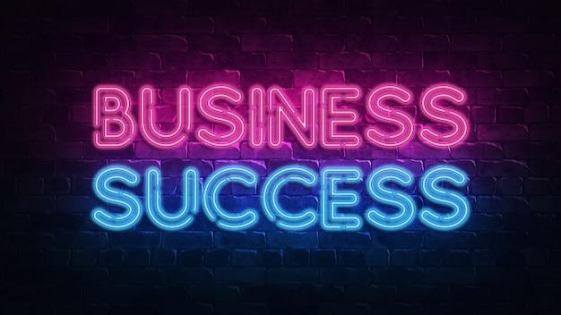 Éxito empresarial letrero de neón.