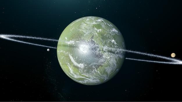 Exoplaneta verde con lunas y anillo.