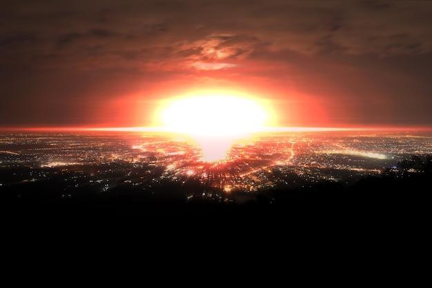 Explosión de bomba nuclear sobre la ciudad