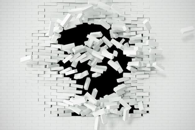 Explosión, destrucción de una pared de ladrillo blanco, resumen para contenido de plantilla.