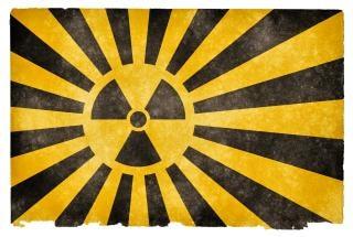 Explosión nuclear bandera del grunge