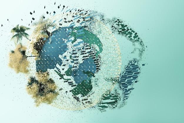 Explosión del planeta sobre un fondo verde. representación 3d