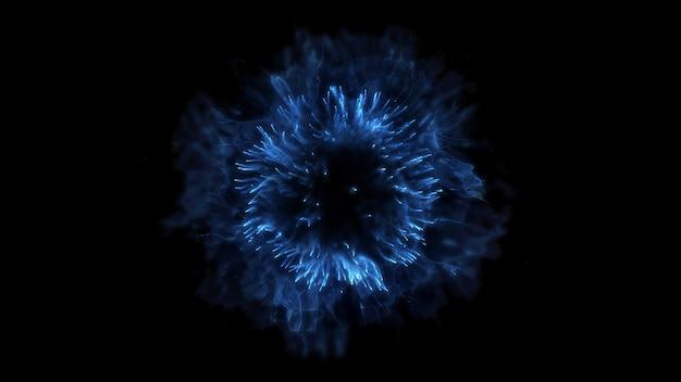 Explotar el fondo. explosión aislada. telón de fondo negro. onda de choque redonda. elemento abstracto color azul
