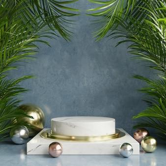 Expositor de podio con fondo de hoja tropical / pared verde.