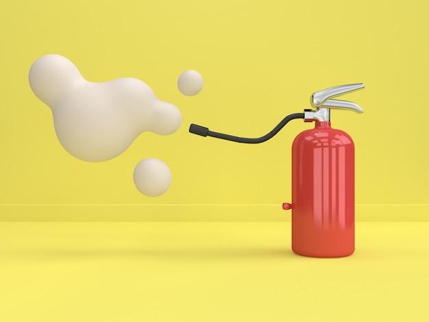 Extintor de incendios estilo de dibujos animados mínimo fondo amarillo representación 3d