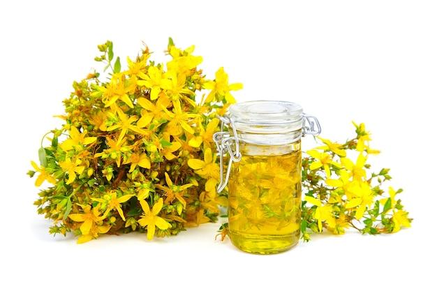 Extracto de hierba de san juan en botella de vidrio y rama de flores amarillas frescas aisladas en blanco