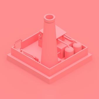 Fábrica de dibujos isométricos en el estilo de minimal. edificio rosa sobre un fondo rosa