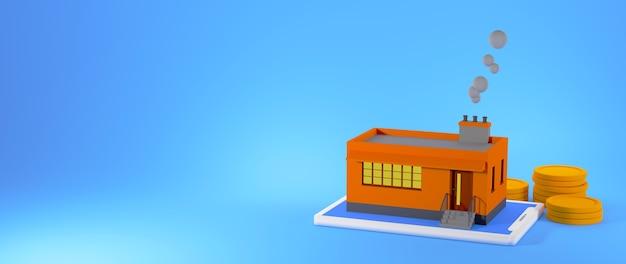 Fábrica de procesamiento 3d con pilas de monedas aisladas sobre fondo azul banner