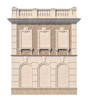 Fachada de una casa clásica de dos pisos con ventanas falsas. renderizado 3d